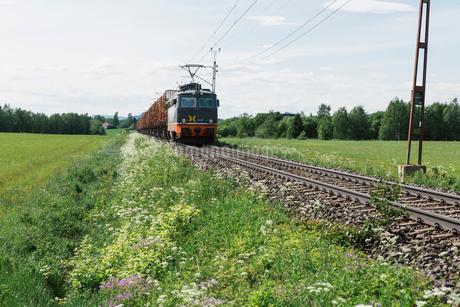 Train by a fieldの写真素材 [FYI02207213]