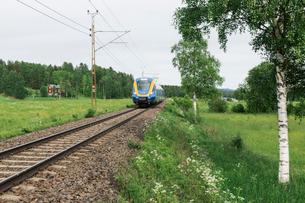 Train by a fieldの写真素材 [FYI02207305]