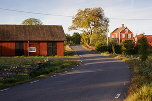 Houses along rural road in Krokshult, Swedenの写真素材 [FYI02207359]