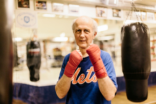 Senior man with his fists raised at boxing trainingの写真素材 [FYI02207805]