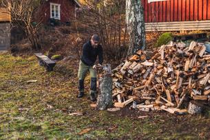 A man splitting fire woodの写真素材 [FYI02207840]