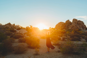 USA, California, Joshua Tree National Park, Woman wearing dress hiking at sunsetの写真素材 [FYI02207886]