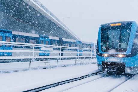 Train station during snow in Stockholmの写真素材 [FYI02207905]