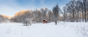 Panoramic of cabin in snow in Jarfalla, Swedenの写真素材 [FYI02207917]