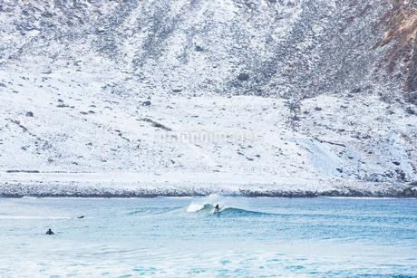 Surfer in Lofoten, Norwayの写真素材 [FYI02207994]