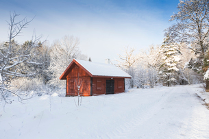 Cabin in snow in Jarfalla, Swedenの写真素材 [FYI02208041]