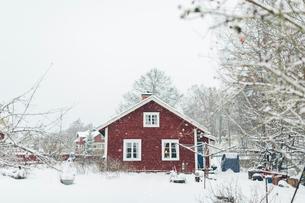 Red house during winter in Kvarnstugan, Swedenの写真素材 [FYI02208048]