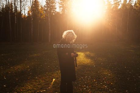 Woman in sunlight in Swedenの写真素材 [FYI02208067]
