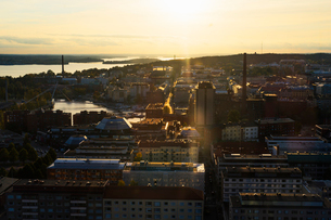 Skyline through window in Pirkanmaa, Finlandの写真素材 [FYI02208119]