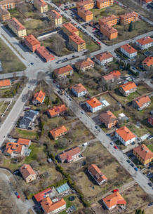 Aerial view of houses in Uppsala, Swedenの写真素材 [FYI02208144]