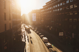 Street at sunset in Stockholmの写真素材 [FYI02208162]