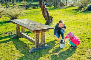 Finland, Paijat-Hame, Heinola, Mother with daughter (4-5) oiling wooden table in gardenの写真素材 [FYI02208301]