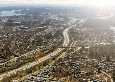Aerial view of highway in Stockholm, Swedenの写真素材 [FYI02208335]