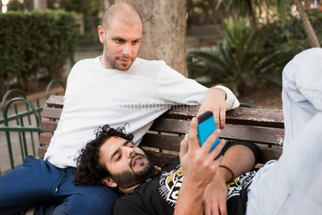 Israel, Tel Aviv, Men resting on bench and using mobile phoneの写真素材 [FYI02208406]