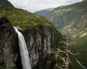 Norway, Jotunheimen mountain range and Utladalen valley with Vettisfossen waterfallの写真素材 [FYI02208498]