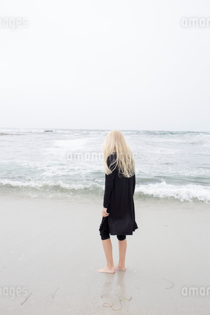 USA, California, Pacific Grove, Girl (12-13) standing on seashoreの写真素材 [FYI02208528]