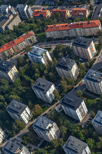 High angle view of buildings in Lidingo, Swedenの写真素材 [FYI02208573]