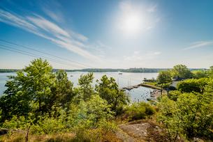 Sweden, Stockholm Archipelago, Uppland, Vaxholm, Marina in small townの写真素材 [FYI02208641]