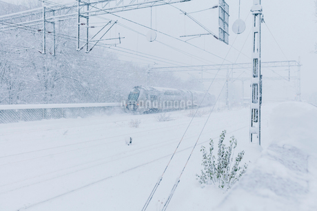 Train during snow in Stockholmの写真素材 [FYI02208740]