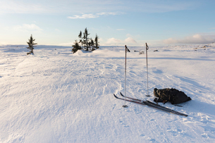 Ski equipment during winter in Dalarna, Swedenの写真素材 [FYI02208806]