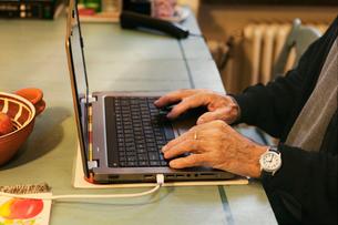 Senior man using a laptopの写真素材 [FYI02208844]