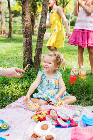 Mother giving daughter candy at birthday picnicの写真素材 [FYI02208852]