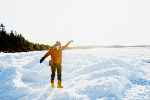 Man on snow in Biludden, Swedenの写真素材 [FYI02208872]