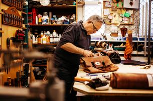 Man in leather workshopの写真素材 [FYI02209184]