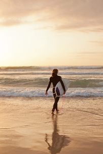 Woman going for a surf at Bondi Beach at sunriseの写真素材 [FYI02209189]