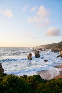 Waves by cliffs in Big Sur, USAの写真素材 [FYI02209275]