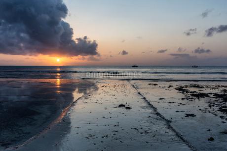 Beach at sunset in Kenyaの写真素材 [FYI02209296]