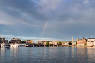Sweden, Stockholm, Rainbow against cloudsの写真素材 [FYI02209436]