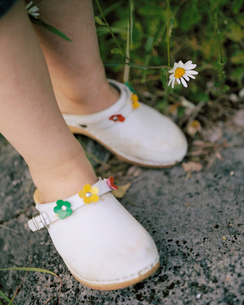 Child wearing clogs,close-upの写真素材 [FYI02209469]