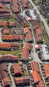 Aerial view of houses in Swedenの写真素材 [FYI02209480]