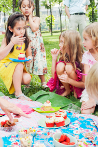 Children at birthday picnicの写真素材 [FYI02209679]