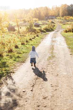 Rear view of little boy playing on a rural road in Swedenの写真素材 [FYI02209726]