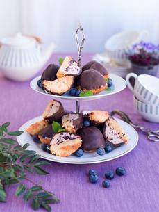 Sweden, Bilberry patisserie on cakestandの写真素材 [FYI02210032]