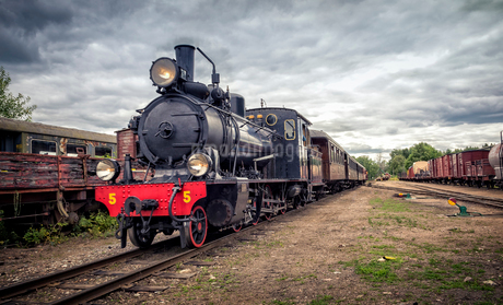 Steam locomotive in Faringe, Swedenの写真素材 [FYI02210079]