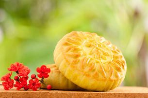 Chinese traditional dessert with decorative wintersweet flowの写真素材 [FYI02210083]