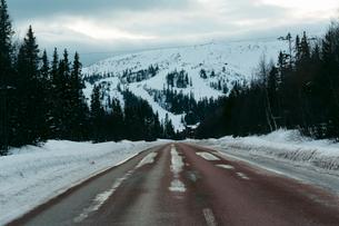 Winter road in Harjedalen, Swedenの写真素材 [FYI02210103]