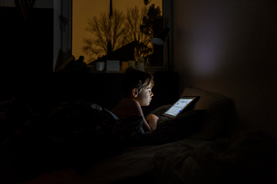 Boy playing with tablet PC in bed at nightの写真素材 [FYI02210500]