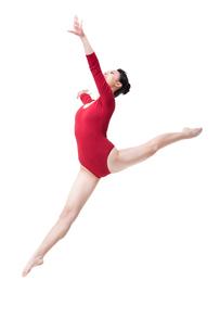 Female gymnast performing rhythmic gymnasticsの写真素材 [FYI02210573]