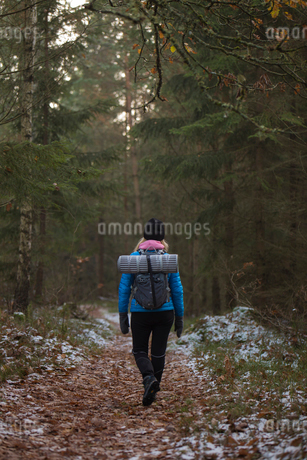 Rear view of woman hiking through forest in Lerum, Swedenの写真素材 [FYI02210969]