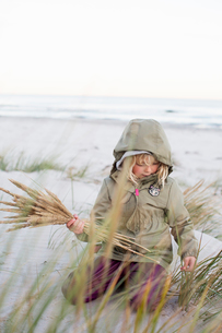 Girl playing with grass on Sandhammaren in Swedenの写真素材 [FYI02211009]