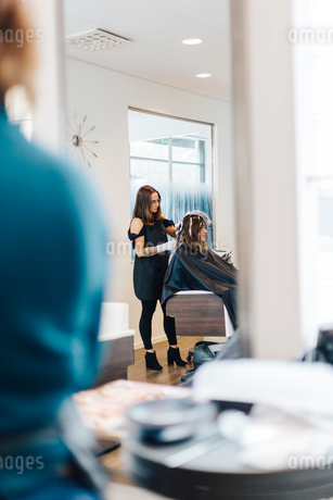 Hairdresser coloring clients hair in Swedenの写真素材 [FYI02211046]