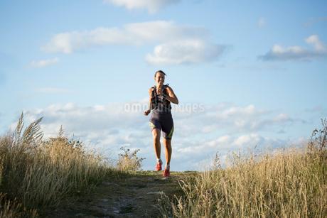 Woman jogging through field in Akersberga, Swedenの写真素材 [FYI02211049]