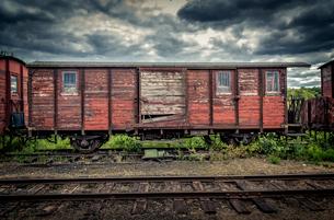 Abandoned train in Faringe, Swedenの写真素材 [FYI02211073]