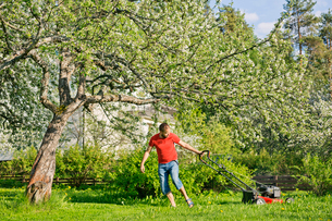 Mid adult man mowing lawn in Heinola, Finlandの写真素材 [FYI02211168]