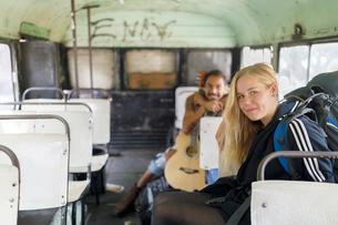 Man and woman on bus in Guatemalaの写真素材 [FYI02211228]