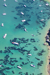 Aerial view of boats in Sydney Harbour in Sydney, Australiaの写真素材 [FYI02211343]